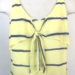 CAbi Tops - Cabi size S yellow and navy striped tank top